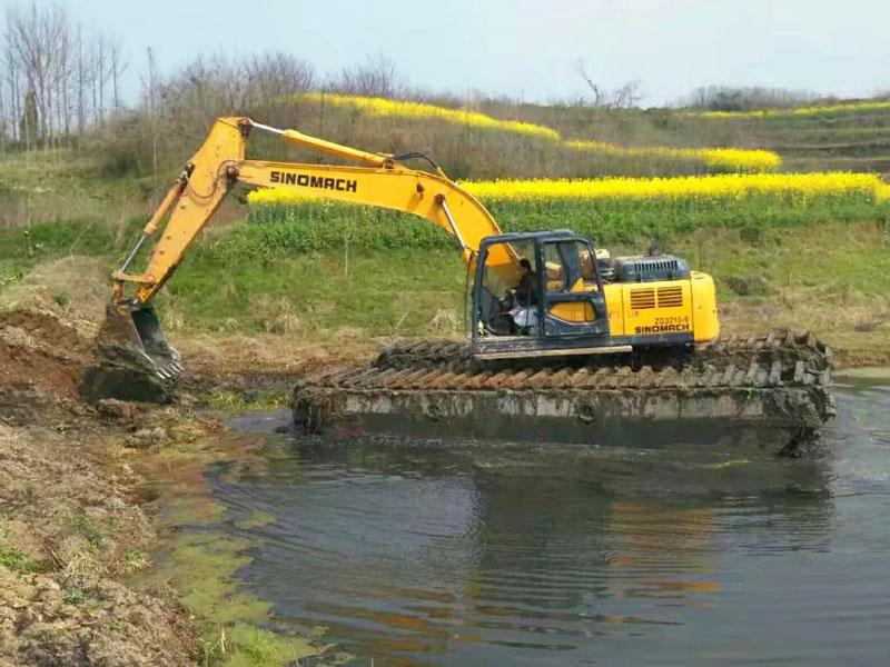 Sinomach ZG3210标配20吨水陆挖掘机浮箱