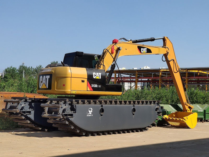 卡特CAT313D标配15吨级水陆挖掘机浮箱